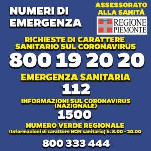 Numero di emergenza coronavirus in Piemonte